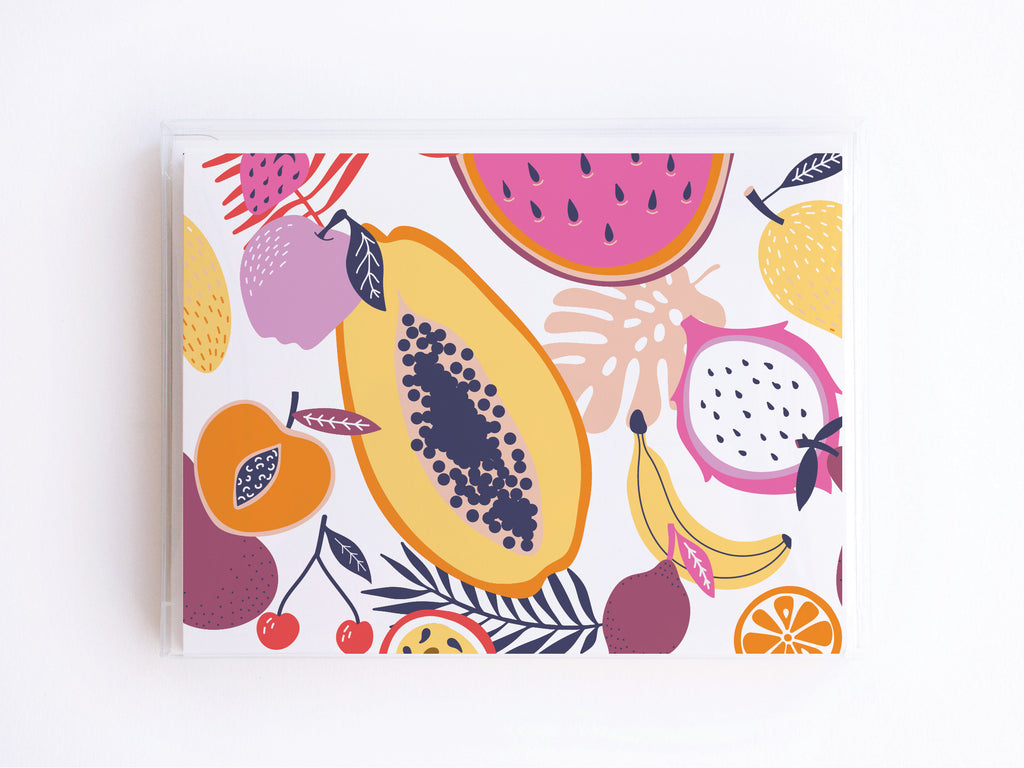 Tropical Fruit Pattern Notecards - onderkast-studio