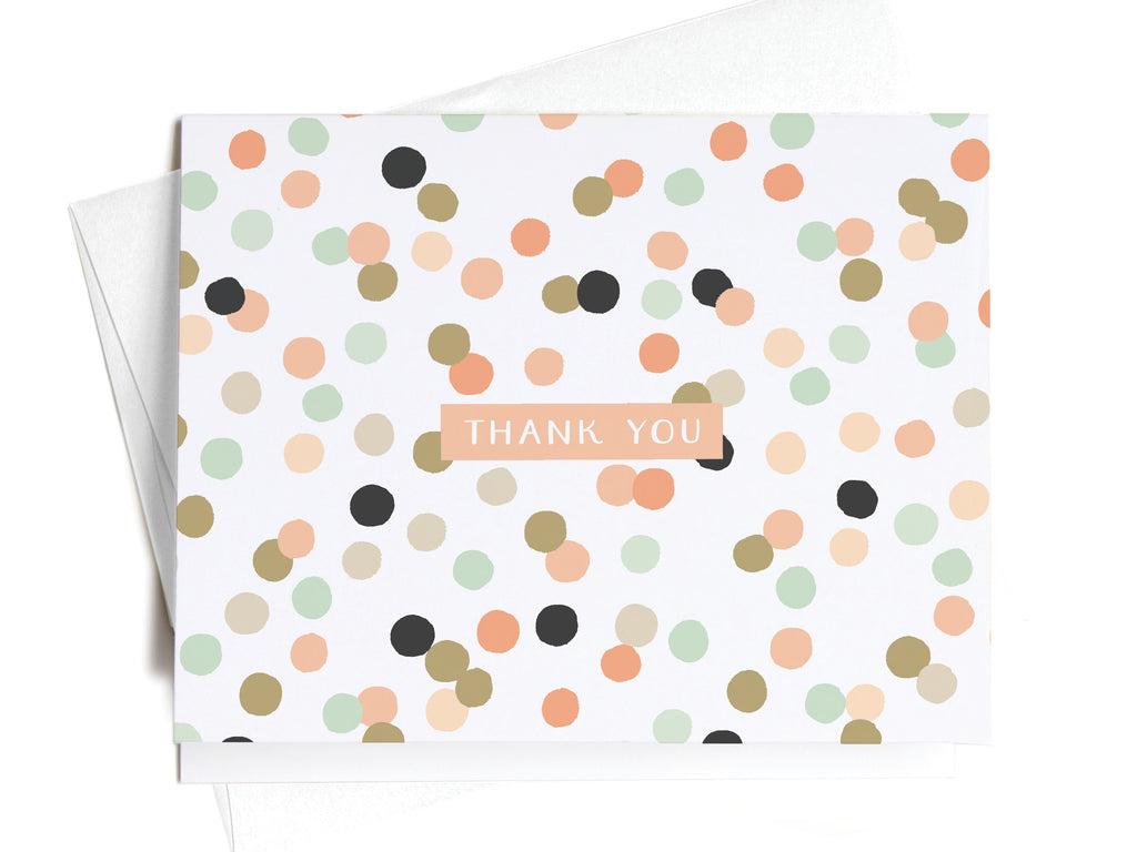 Thank You Pink + Green Polka Dots Notecards - onderkast-studio
