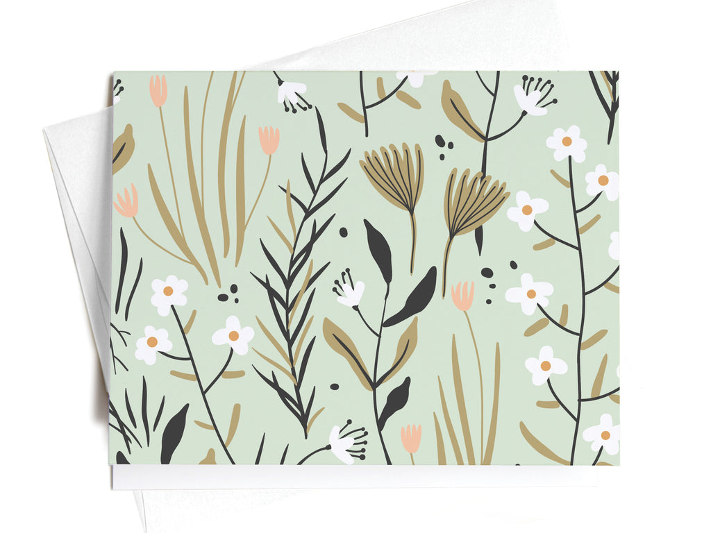 Green + Pink Soft Floral Pattern Notecards - onderkast-studio