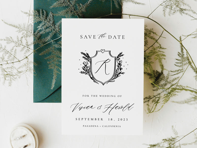 Modern Floral Crest Save the Date