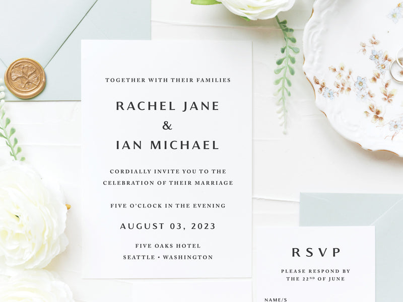 Dusty Blue Modern Wedding Invitations