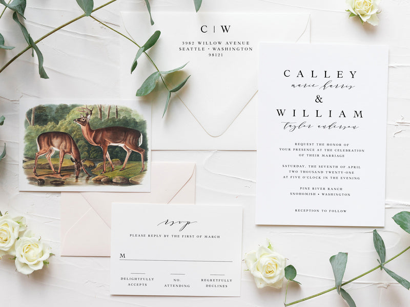 Vintage Woodland Wedding Invitations