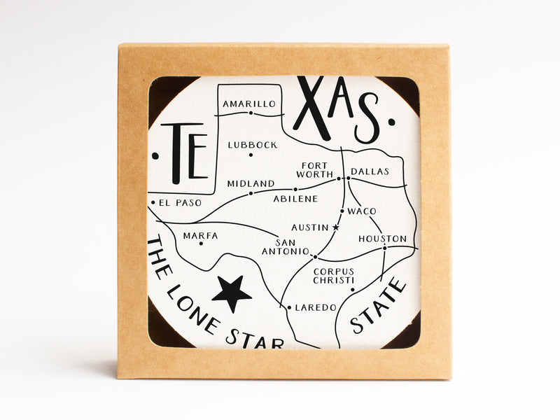 Texas State Map Coaster Set - onderkast-studio
