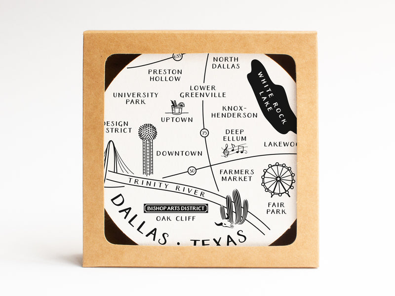 Dallas Neighborhoods Map Coaster Set - onderkast-studio