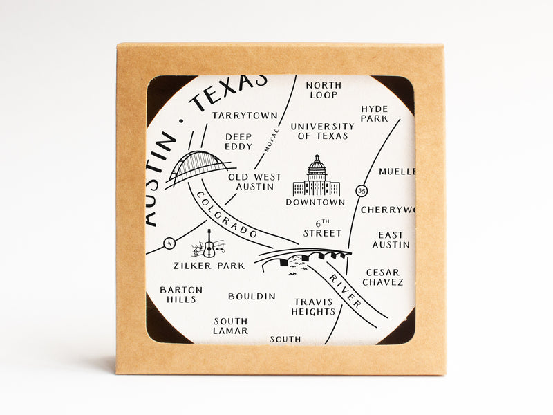 Austin Neighborhoods Map Coaster Set - onderkast-studio
