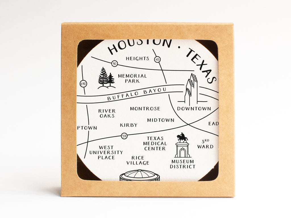 Houston Neighborhoods Map Coaster Set - onderkast-studio