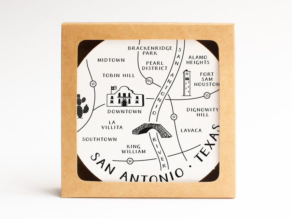 San Antonio Neighborhoods Map Coaster Set - onderkast-studio