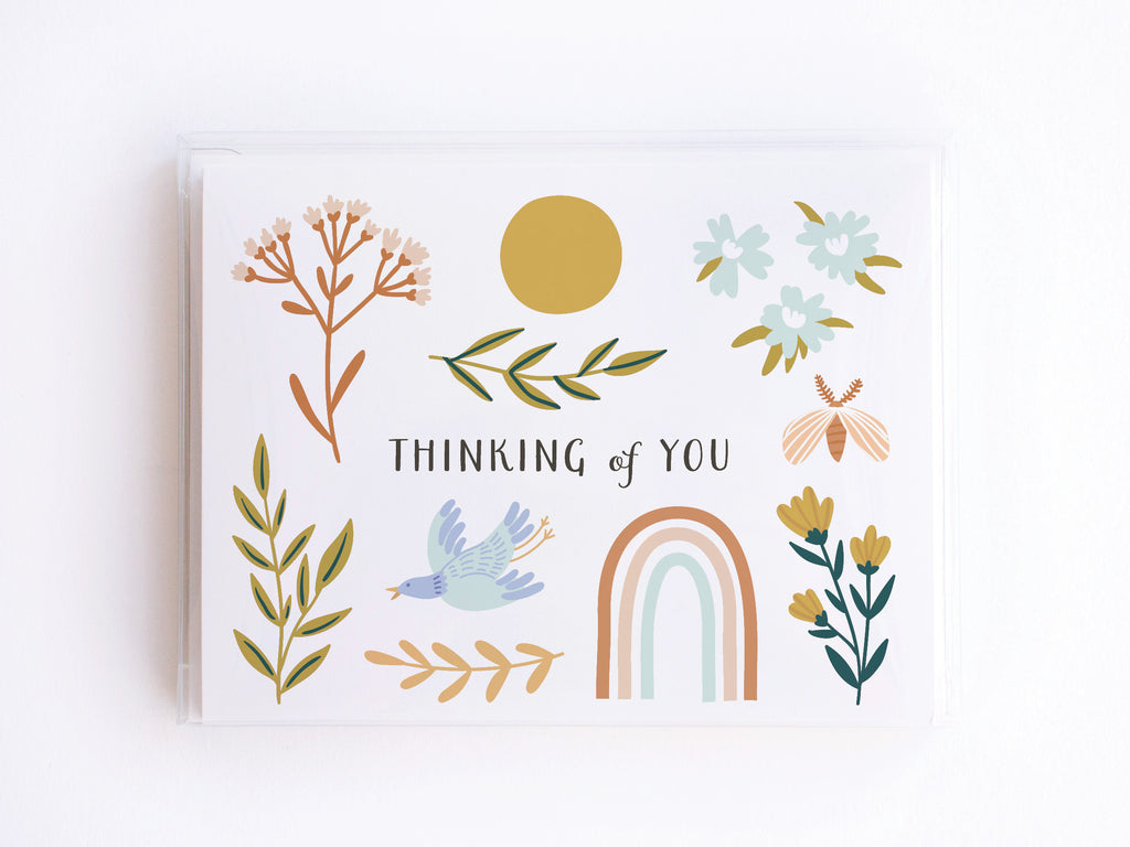 Rainbow, Bird & Flowers Thinking of You Notecards