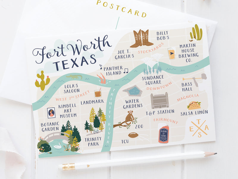 Fort Worth Map Postcard - onderkast-studio