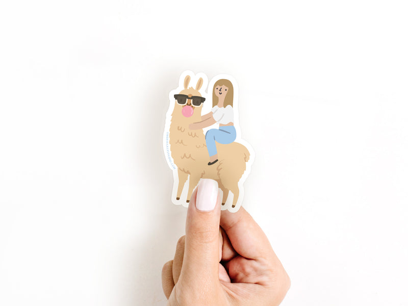 Girl Riding a Llama Sticker