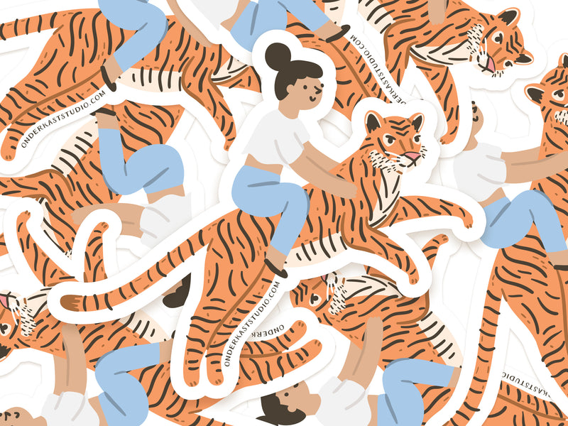 Girl Riding a Tiger Sticker