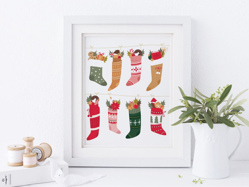 Christmas Stockings Art Print - onderkast-studio