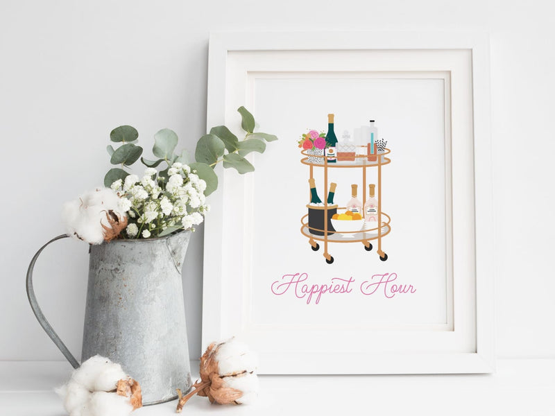Happiest Hour Bar Cart Art Print - onderkast-studio