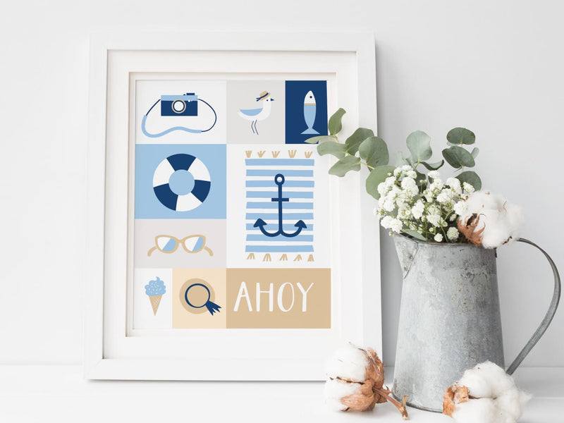 Nautical Ahoy Art Print - onderkast-studio