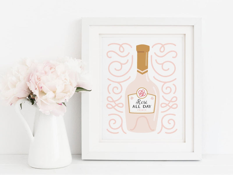 Rosé All Day Wine Bottle Art Print - onderkast-studio