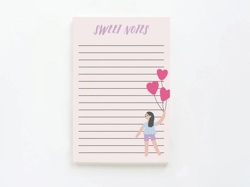 Sweet Notes Girl W/heart Balloons - Notepads - Onderkast Studio