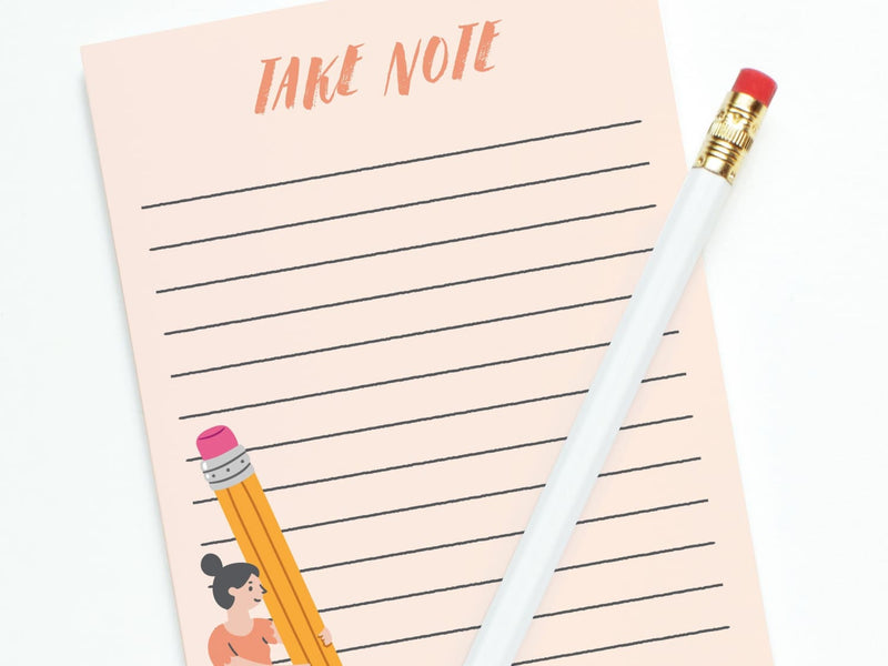 Take Note Girl W/pencil - Notepads - Onderkast Studio