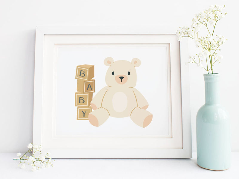 Teddy Bear + Baby Blocks Art Print - onderkast-studio