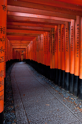 Red gates at Fushimi Inari Shrine on Kyoto