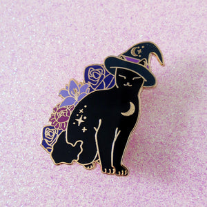 Halloween Witch Cat Enamel Pin