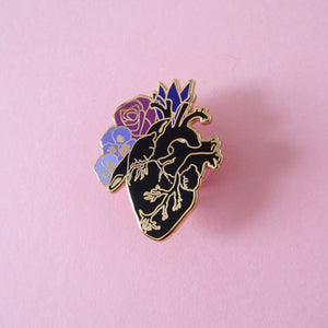 Anatomical Black Heart Enamel Pin