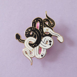 Double Snakes Enamel Pin