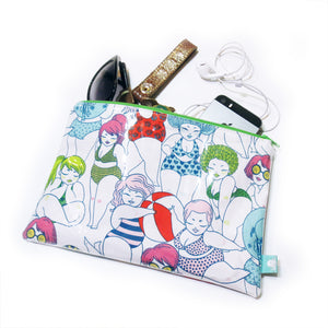 Beach Babes Water Resistant Zipper Pouch - Gold Crow Co.