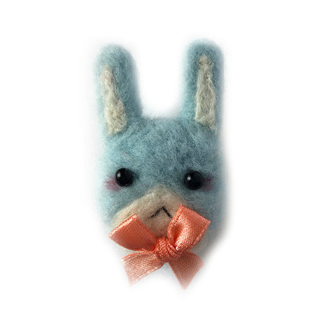 Needlefelt Blue Bunny Pin - Gold Crow Co.