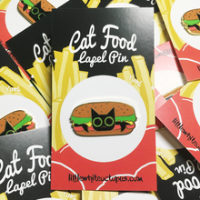Burger Cat Hard Enamel Pin - Gold Crow Co.