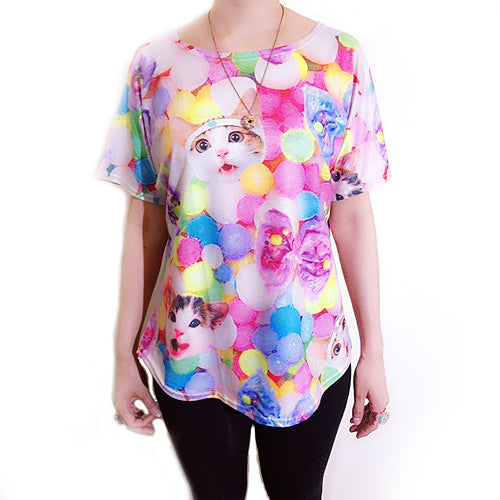 Candy Cat Boxy T-shirt - Gold Crow Co.