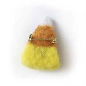 Needlefelt Candy Corn Halloween Pin - Gold Crow Co.