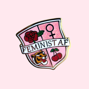 Feminist AF Enamel Pin - Gold Crow Co.