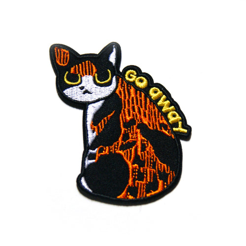 Go Away Cat Iron On Patch - Gold Crow Co.