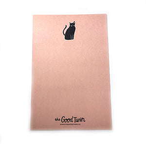 Lucky Black Cat Enamel Pin + Postcard - Gold Crow Co.