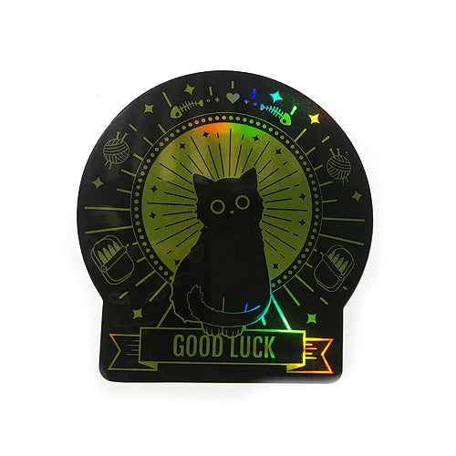 Good Luck Black Holographic Cat Sticker - Gold Crow Co.