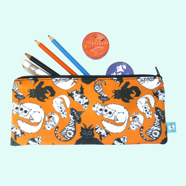 Halloween All Over Cats Pencil Case - Gold Crow Co.