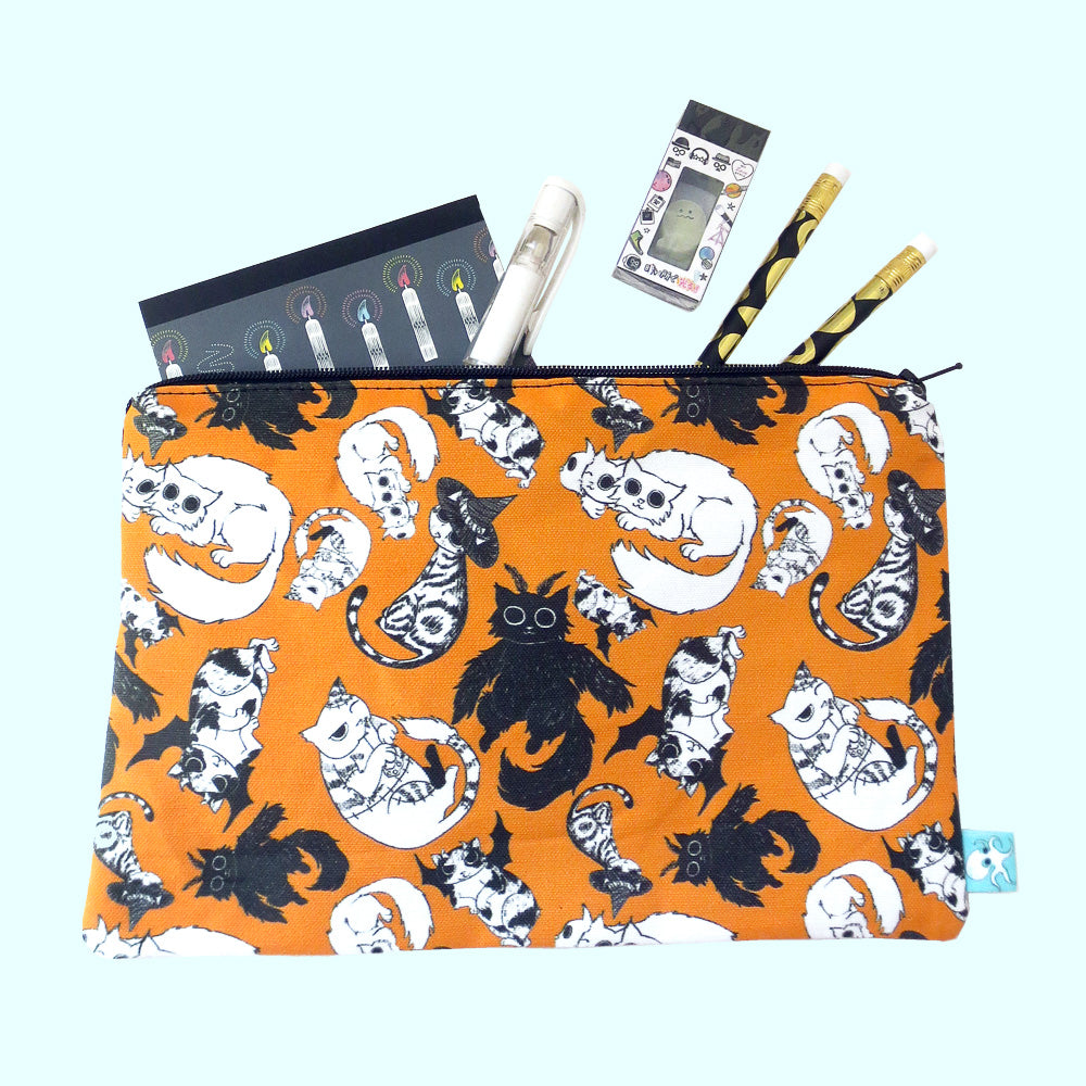 Halloween All Over Cats Zipper Pouch - Gold Crow Co.