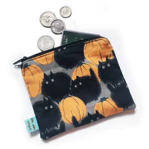 Pumpkin Cats Mini Zipper Pouch - Gold Crow Co.