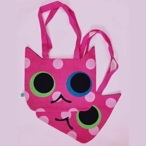 Pink Cat Head Tote Bag