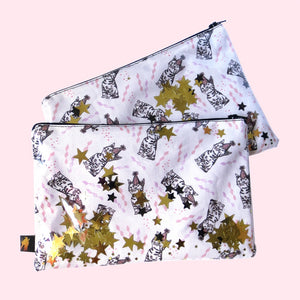 Cat Party Confetti Zipper Pouch - Gold Crow Co.