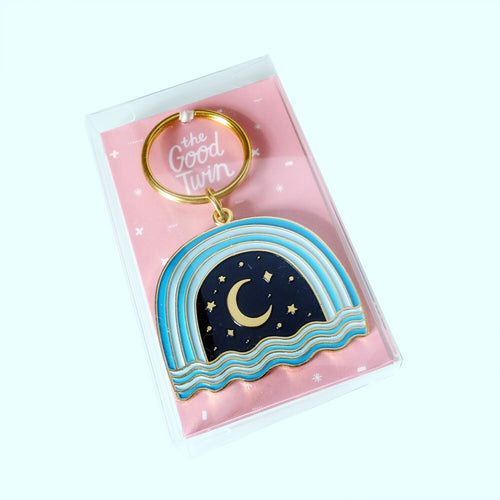 Night Sky Enamel Keychain - Gold Crow Co.