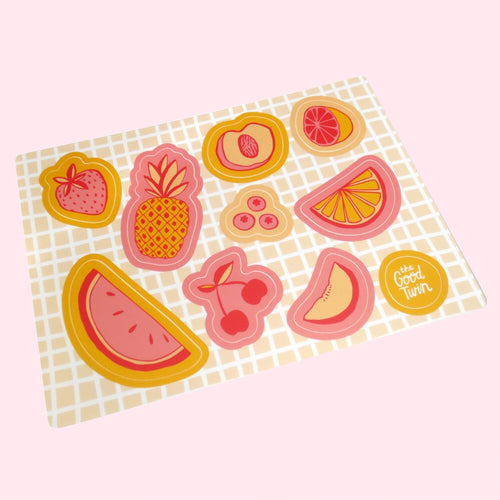 Cute Fruits Sticker Sheet - Gold Crow Co.