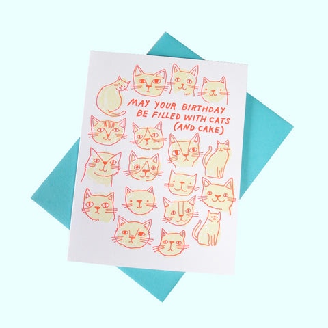 Cats & Cake Birthday Greeting Card - Gold Crow Co.