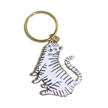 White Tiger Enamel Keychain - Gold Crow Co.