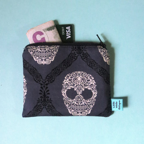 Fancy Skulls Mini Zipper Pouch