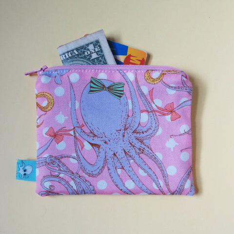 Pink Octopus Mini Zipper Pouch