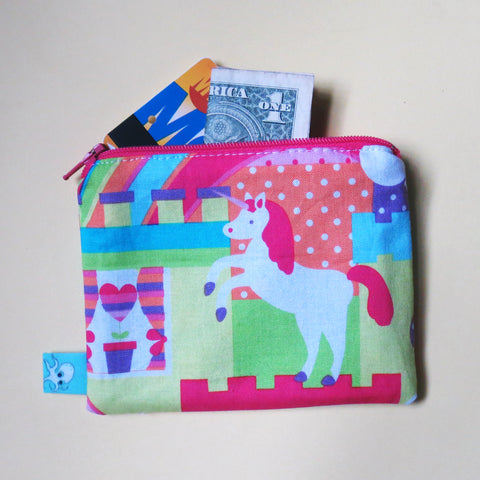 Neon Unicorn Mini Zipper Pouch