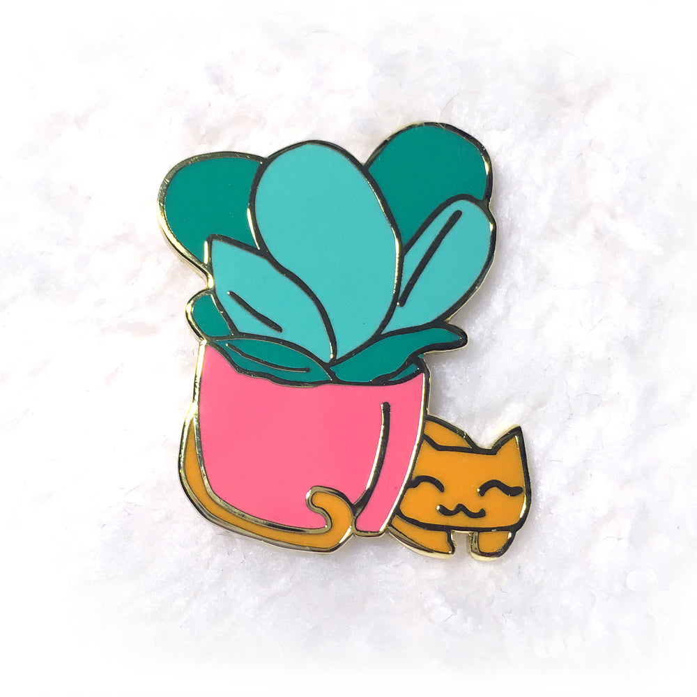 Succulent Kitty Enamel Pin - Gold Crow Co.