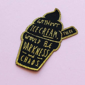 Ice Cream Embroidered Patch - Gold Crow Co.