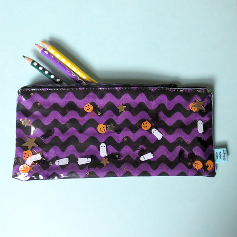 Halloween Stripe Confetti Pencil Case